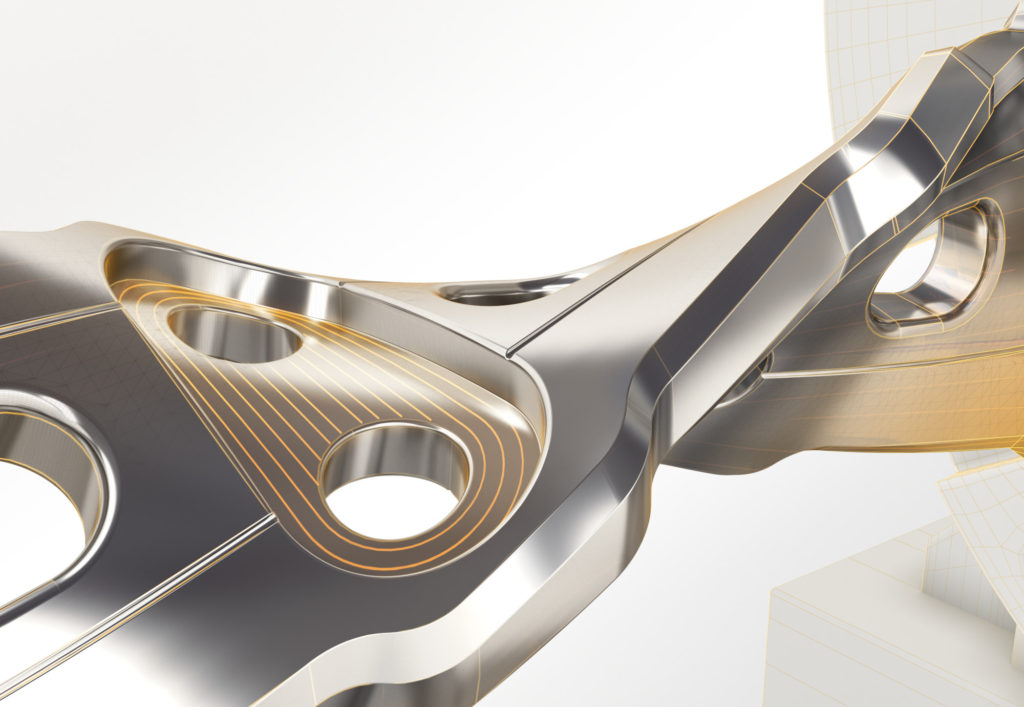2017 PartMaker product hero image. Rendering of an abstract composition designed and rendered in Autodesk(R) 3ds Max(R) software.