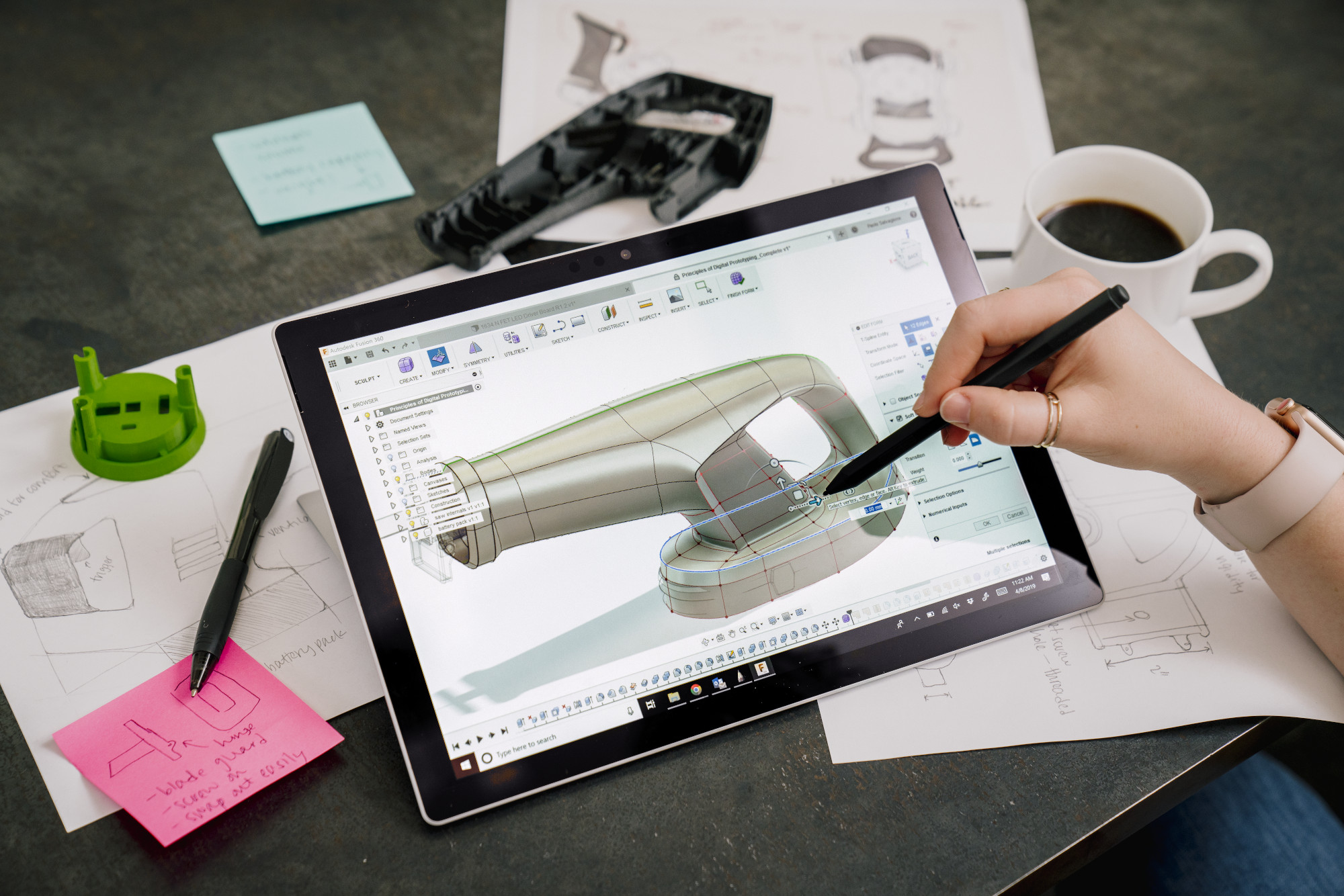 Working in the offices of the Autodesk San Francisco Technology Center using Fusion 360.