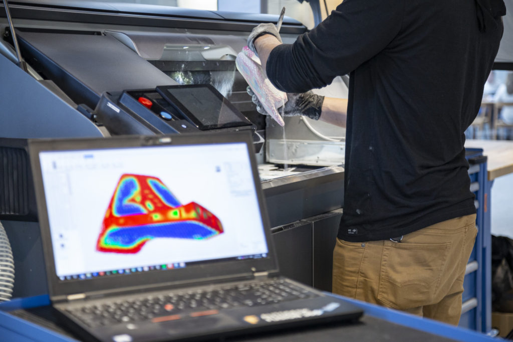 Generatively designed color part from the HP MJF 580 3d printer at the Autodesk Technology Centre in Toronto.